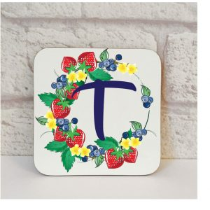 Initial T Name Coaster By Beautifully Obscene