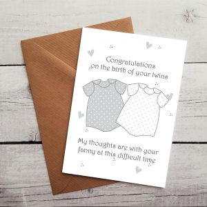 funny twins congratulations card by Beautifully Obscene