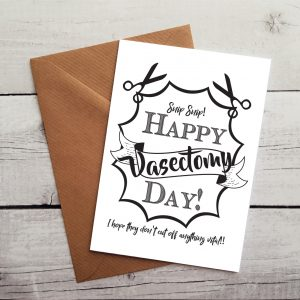 happy vasectomy day card by Beautifully Obscene