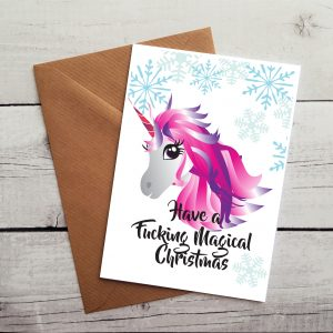 unicorn lover christmas card by Beautifully Obscene