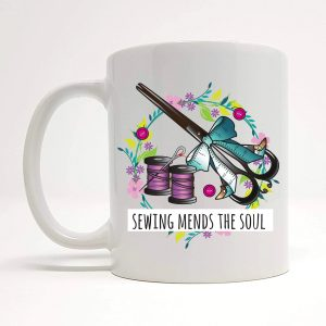 sewing mends the soul mug by Beautifully Obscene